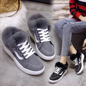 女式 流行冬季新款保暖加绒翻边毛毛系带平跟毛毛鞋休闲棉鞋