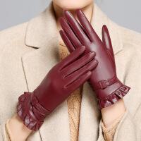 海宁仿 手套女加绒加厚冬季骑车保暖骑行冬天薄款触屏山羊皮手套