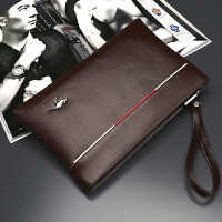 男士手拿包休闲便捷男包大容量手包钱包商务包包软皮信封包手抓包 棕色