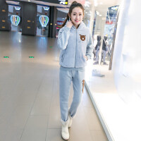 2018冬装新款韩版少女加厚套装女初中学生加绒连帽运动休闲三件套