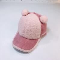 儿童棒球帽秋冬2女童加厚鸭舌帽3保暖4男童6-7岁棒球帽宝宝帽子潮 均码