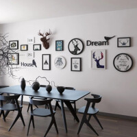 北欧风格组合创意装饰画客厅沙发背景墙挂画酒吧餐厅酒店挂墙黑白麋鹿墙画 请参照页面尺寸