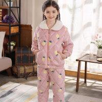 冬季儿童睡衣女童三层夹棉法兰绒珊瑚绒公主韩版家居服加厚款套装 170cm(170( M码建议身高160-165C