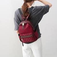 新款潮包双肩包女士韩版牛津布防水尼龙百搭轻便帆布迷你背包 酒红色