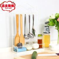铁艺多功能调味架 厨房壁挂落地置物架 厨房用品收纳架 白色