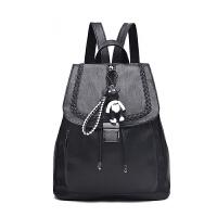 刺绣包包背包女士双肩包韩版潮时尚个搭PU皮休闲简约s6 编织黑色