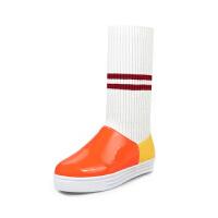 冬秋女童单靴2018新款毛线针织靴中大童公主高筒靴马丁靴童鞋女软底 橘色