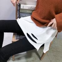 №【2019新款】年轻人穿的2018秋冬新款白色长袖T恤下摆破洞加绒打底衫宽松中长款上衣女潮 加绒