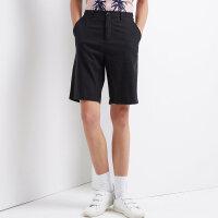 【1件2折到手价:29.2】美特斯邦威休闲短裤男夏装新款帅气男生日系纯色宽松棉麻透气中裤