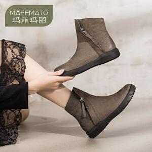 玛菲玛图2018新款短靴女平底真皮圆头裸靴子侧拉链磨砂鞋女马丁靴M1981530T1