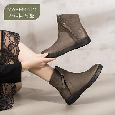 玛菲玛图2017新款短靴女平底真皮圆头裸靴子侧拉链磨砂鞋女马丁靴530-1尾品汇 付款后3-5个工作日发货