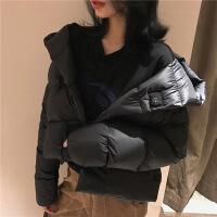 张景亦 2018冬季新款韩款连帽短款羽绒服女轻薄显瘦面服外套 黑色