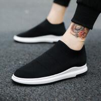 夏季一脚蹬透气懒人鞋男士运动袜子鞋韩版潮流休闲布鞋飞织男鞋子