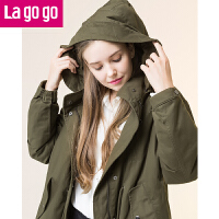 【清仓3折价259.8】Lagogo2019秋冬季新款加厚保暖短外套chic连帽中长款上衣女装