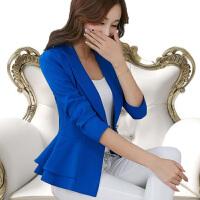 小西装女2018春季新款韩版气质一粒扣荷叶边长袖修身短款西服外套 A33蓝色 10274