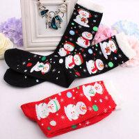 少女士学生礼物圣诞袜 韩国可爱中高筒棉袜 红色雪人袜子 松口袜
