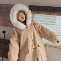 加厚工装外套女中长款冬季新款韩版bf宽松大毛领棉衣学生 均码