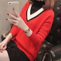 2018春装新款宽松韩版长袖撞色打底衫套头拼接蕾丝领针织衫女毛衣