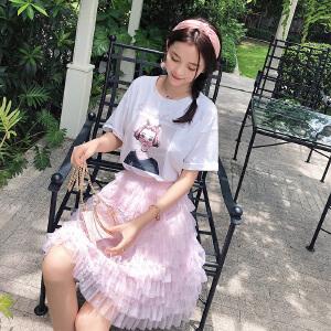 谜秀半身裙女2018夏装新款韩版少女心蛋糕裙中长款公主网纱裙子夏