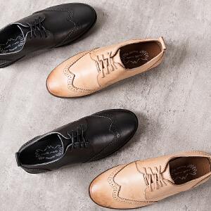 玛菲玛图头层牛皮布洛克单鞋女2018新款春季复古英伦女鞋平底方跟小皮鞋子M19811001T1