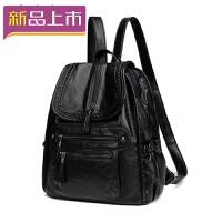 2018双肩包女旅行包 韩版妈咪背包休闲软皮大容量学生书包 袋盖花边