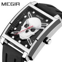 男士手表防水时尚方形石英表骷髅头手表夜光腕表