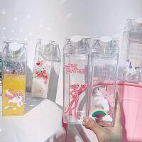 韩国创意牛奶盒造型塑料杯子卡通少女心独角兽便携随手杯学生水杯