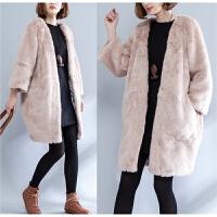 冬季加肥加大码女装毛毛大衣加厚开衫微胖mm粉色宽松显瘦皮草外套