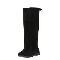 尚恩麦品牌2018秋冬新款欧美百搭粗跟显瘦过膝长靴女绒面低跟长筒靴子