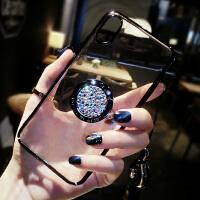 苹果X手机壳带挂绳女iPhone8plus个性创意6s新款钻支架7p潮牌超薄 iphone X 黑色