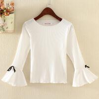 喇叭袖白色t恤上衣秋冬长袖短款修身纯色绑带蝴蝶结打底衫女针织