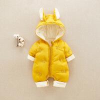 婴儿秋冬装夹棉连体棉衣6-12个月新生儿衣服连帽外出抱衣宝宝哈衣