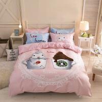 ???卡通可爱四件套公主风1.8m床单人被套儿童床上用品学生宿舍三件套