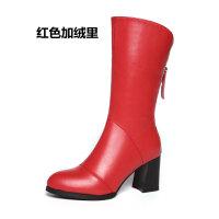 真皮靴子加绒女靴2018秋冬季新款百搭粗跟中筒靴女尖头高跟马丁靴SN4285