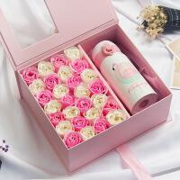 情人节礼物圣诞节生日礼物 方形保温杯笔记本香皂玫瑰花礼盒 灰盒紫色+手工皂+灯