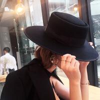 新年优惠【NEW】欧美黑色大檐帽毛呢帽子女秋冬英伦大帽檐礼帽复古爵士帽毡帽 黑色 可调节
