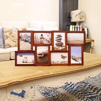 欧式复古创意8开口连体6寸相框组合客厅照片墙摆台挂墙摆件