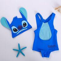 儿童泳衣 史迪仔造型泳衣 男女童温泉泳衣星际宝贝宝宝连体泳装 蓝色史迪仔
