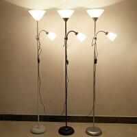 【限时7折】遥控LED护眼落地灯客厅卧室床头立式台灯双头子母灯书房工作灯具