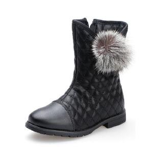 比比我儿童靴子女童中筒靴秋冬新款加绒保暖二棉鞋小女孩童鞋