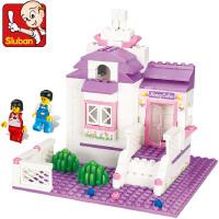 小鲁班拼装益智积木玩具塑料甜蜜小屋儿童拼插女孩玩具 M38-B0156