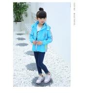 2018年新款秋秋季中大童女装女童外套中小学生儿童运动风衣冲锋衣qg