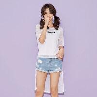 【1件2折到手价:20】美特斯邦威短袖T恤女士夏装新款休闲时尚两件套长款