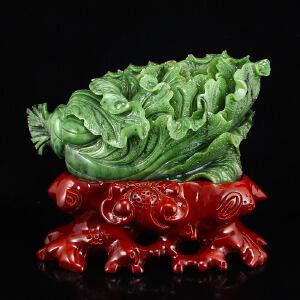和田玉碧玉白菜摆件天然玉石纳百财
