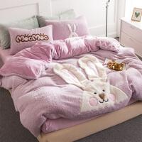 加厚冬季床品四件套立体贴布绣萌双面羊羔绒宝宝绒法兰绒床单被罩