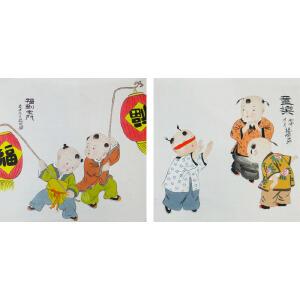现代画家   杨丽  同乐图  *