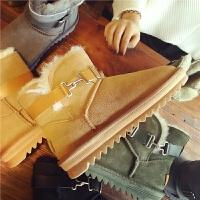 欧洲站秋冬季新款真皮雪地靴女羊皮毛一体舒适短靴平底舒适女棉鞋