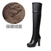 冬季新款真皮长靴女过膝长靴高跟粗跟圆头长筒靴皮靴子真皮 绒里