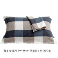 纯棉枕巾全棉纱布枕巾一对装日式格子枕头巾学生情侣欧式枕巾 复古格 深蓝一对