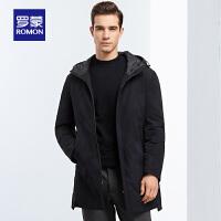 罗蒙羽绒服男士冬季中青年时尚迷彩羽绒服保暖防寒连帽中长款外套